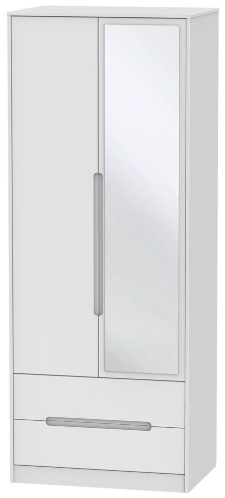 Monaco White 2 Door Combi Wardrobe