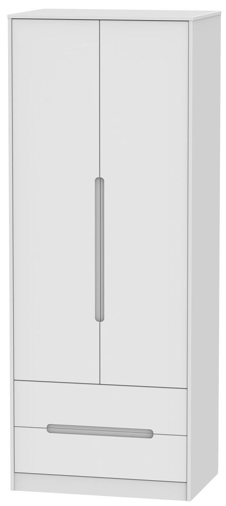 Monaco White 2 Door 2 Drawer Tall Double Wardrobe