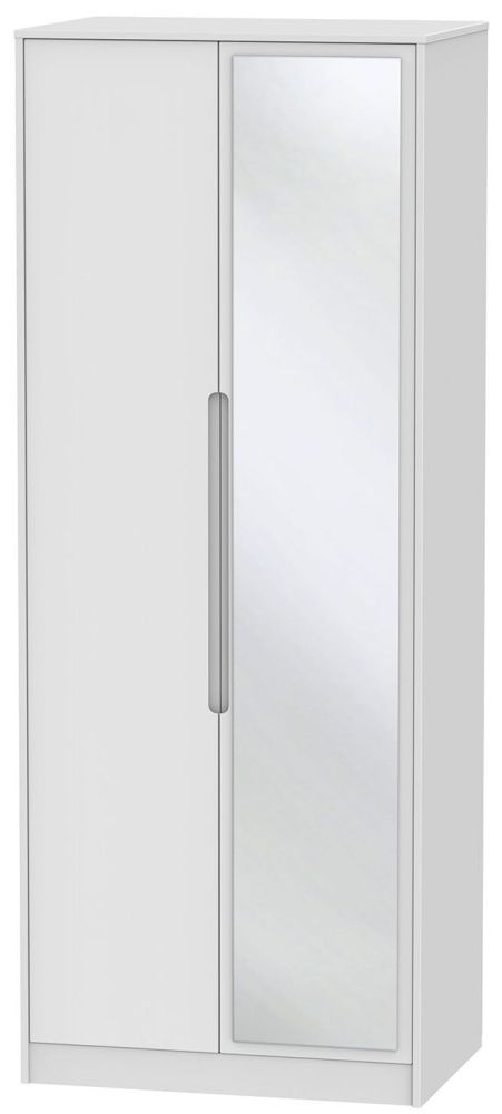 Monaco White 2 Door Tall Mirror Double Wardrobe