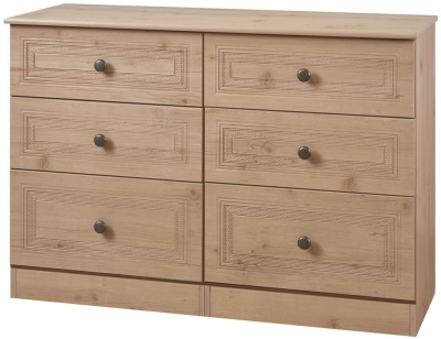 Oyster Bay Nash Oak Chest of Drawer - 6 Drawer Midi