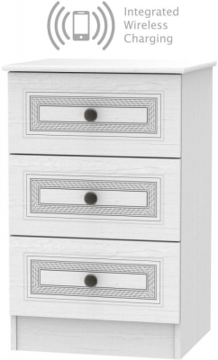 Oyster Bay Signature White 3 Drawer Bedside Cabinet with Integrated Wireless Charging