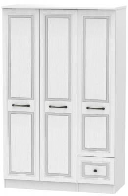 Oyster Bay Signature White 3 Door 1 Drawer Plain Wardrobe