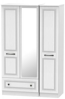 Oyster Bay Signature White 3 Door 1 Left Drawer Mirror Wardrobe
