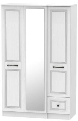 Oyster Bay Signature White 3 Door 1 Right Drawer Mirror Wardrobe