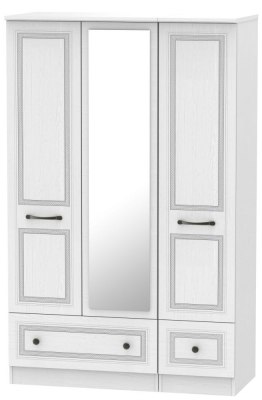 Oyster Bay Signature White 3 Door 2 Drawer Mirror Wardrobe