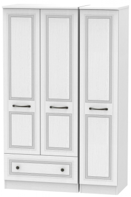 Oyster Bay Signature White 3 Door 1 Drawer Wardrobe