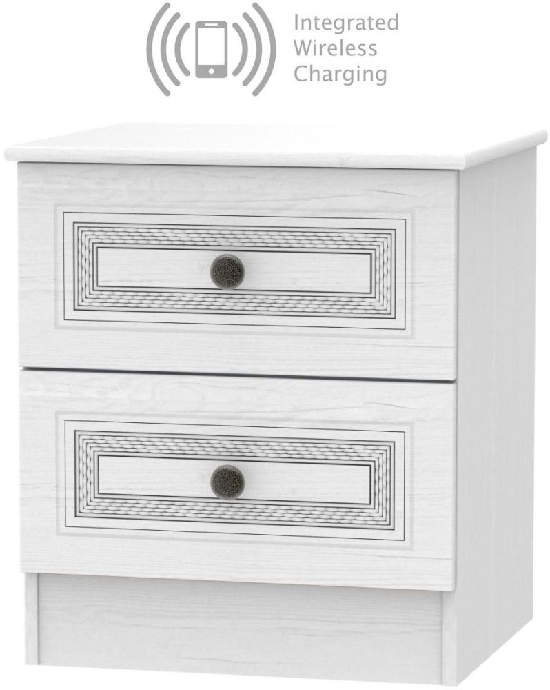 Oyster Bay Signature White 2 Drawer Bedside Cabinet with Integrated Wireless Charging