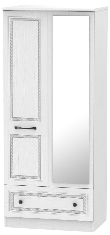 Oyster Bay Signature White 2 Door Mirror Combi Wardrobe