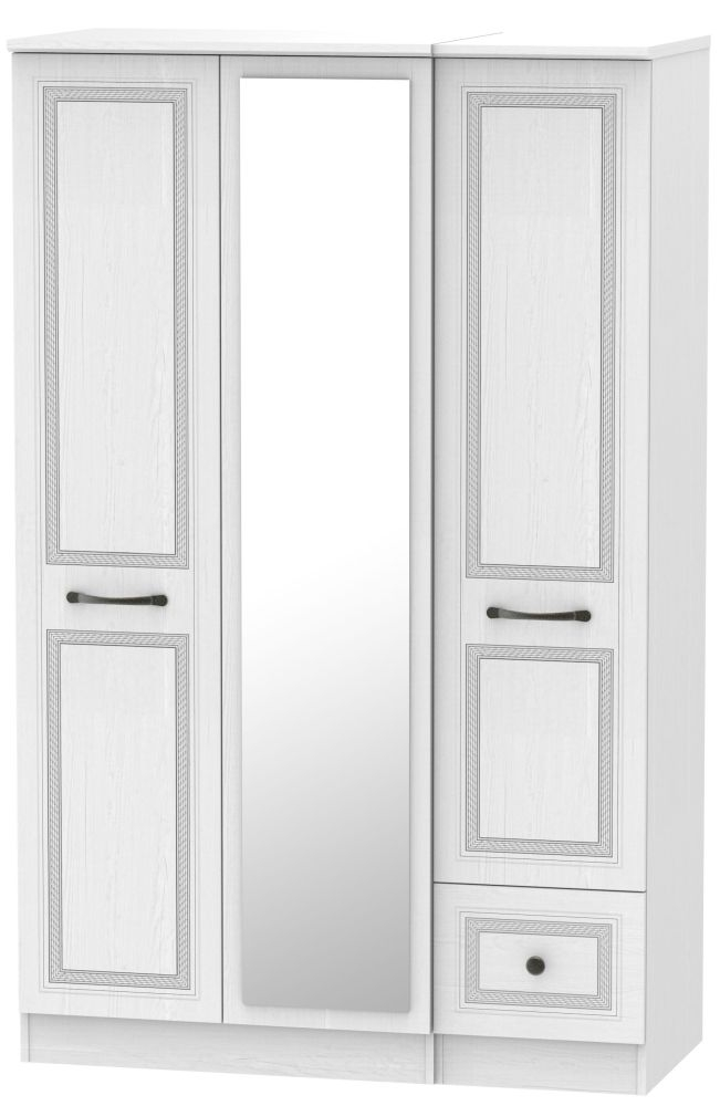 Oyster Bay Signature White 3 Door 1 Right Drawer Mirror Wardrobe