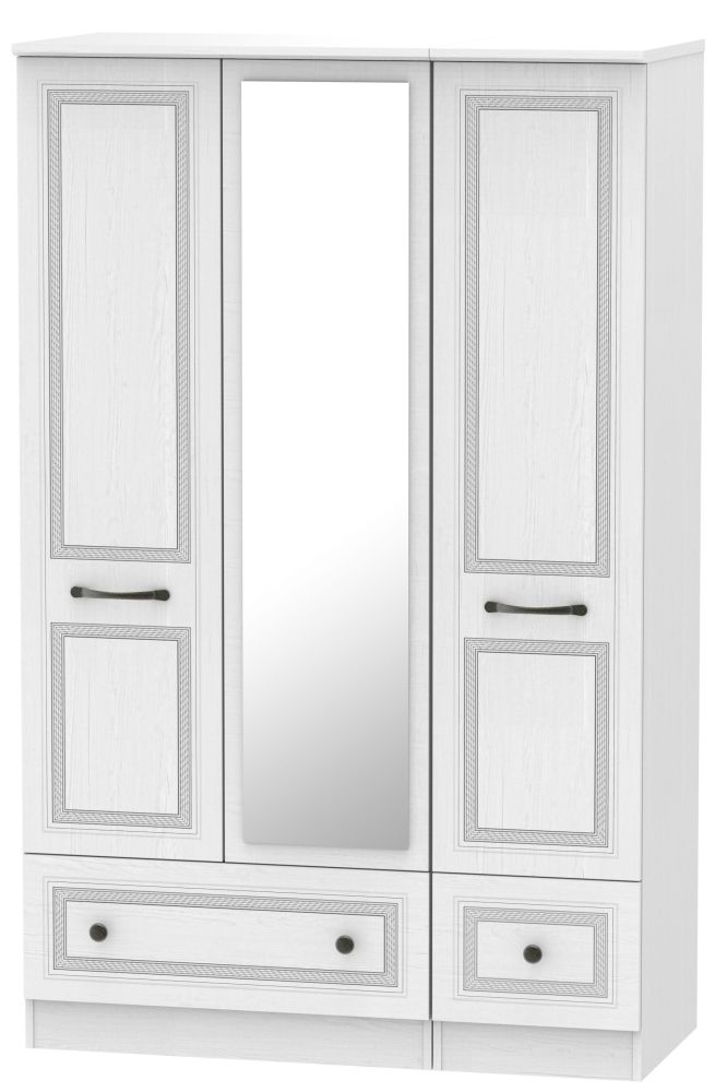 Oyster Bay Signature White 3 Door 2 Drawer Mirror Wardrobe
