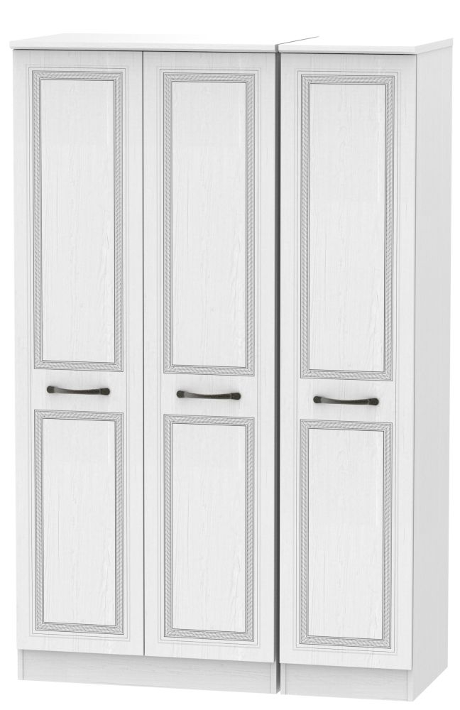 Oyster Bay Signature White 3 Door Plain Wardrobe