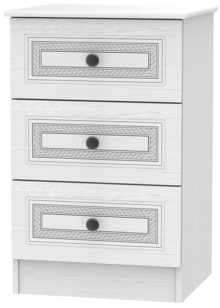 Oyster Bay Signature White 3 Drawer Bedside Cabinet