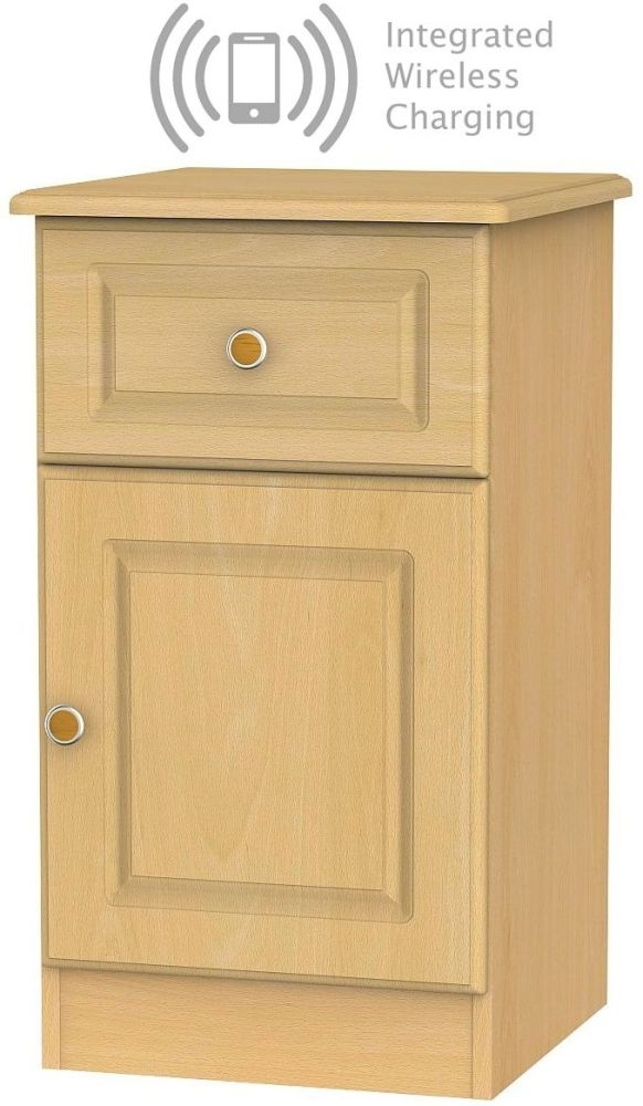Pembroke Beech 1 Door 1 Drawer Bedside Cabinet with Integrated Wireless Charging