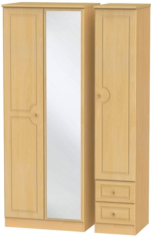 Pembroke Beech 3 Door 2 Right Drawer Tall Combi Wardrobe