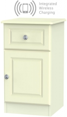 Pembroke Cream 1 Door 1 Drawer Bedside Cabinet with Integrated Wireless Charging