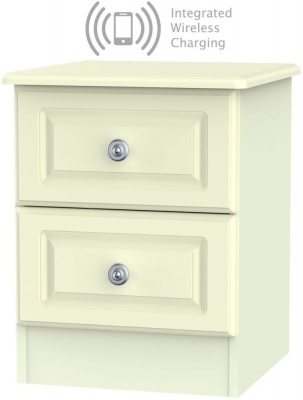 Pembroke Cream 2 Drawer Bedside Cabinet with Integrated Wireless Charging