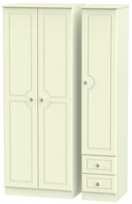 Pembroke Cream 3 Door 2 Right Drawer Tall Plain Wardrobe