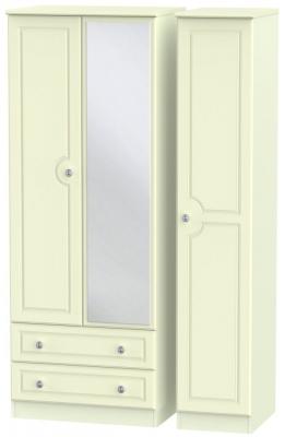 Pembroke Cream 3 Door 2 Left Drawer Tall Mirror Wardrobe