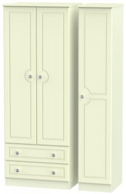 Pembroke Cream 3 Door 2 Drawer Tall Wardrobe