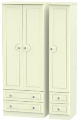 Pembroke Cream 3 Door 4 Drawer Tall Wardrobe