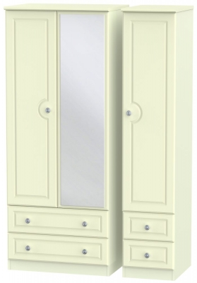 Pembroke Cream 3 Door 4 Drawer Mirror Wardrobe