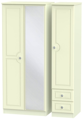 Pembroke Cream 3 Door 2 Right Drawer Mirror Wardrobe