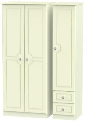 Pembroke Cream 3 Door 2 Right Drawer Plain Wardrobe