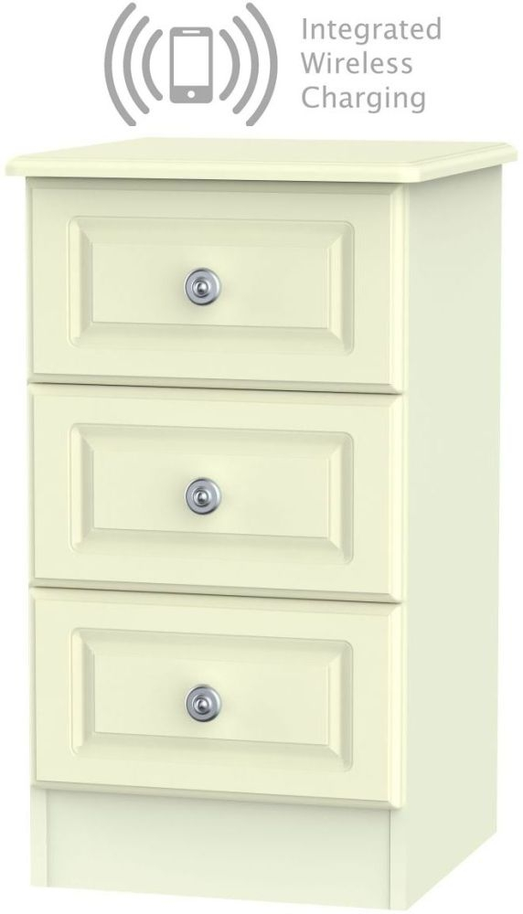 Pembroke Cream 3 Drawer Bedside Cabinet with Integrated Wireless Charging