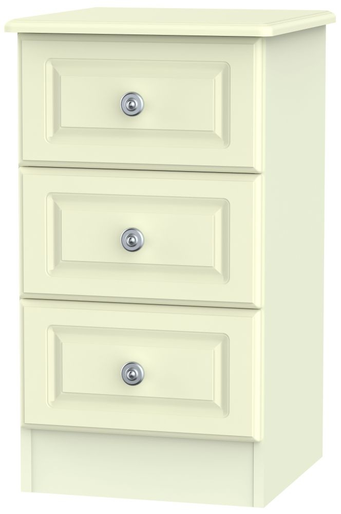Pembroke Cream Bedside Cabinet - 3 Drawer Locker