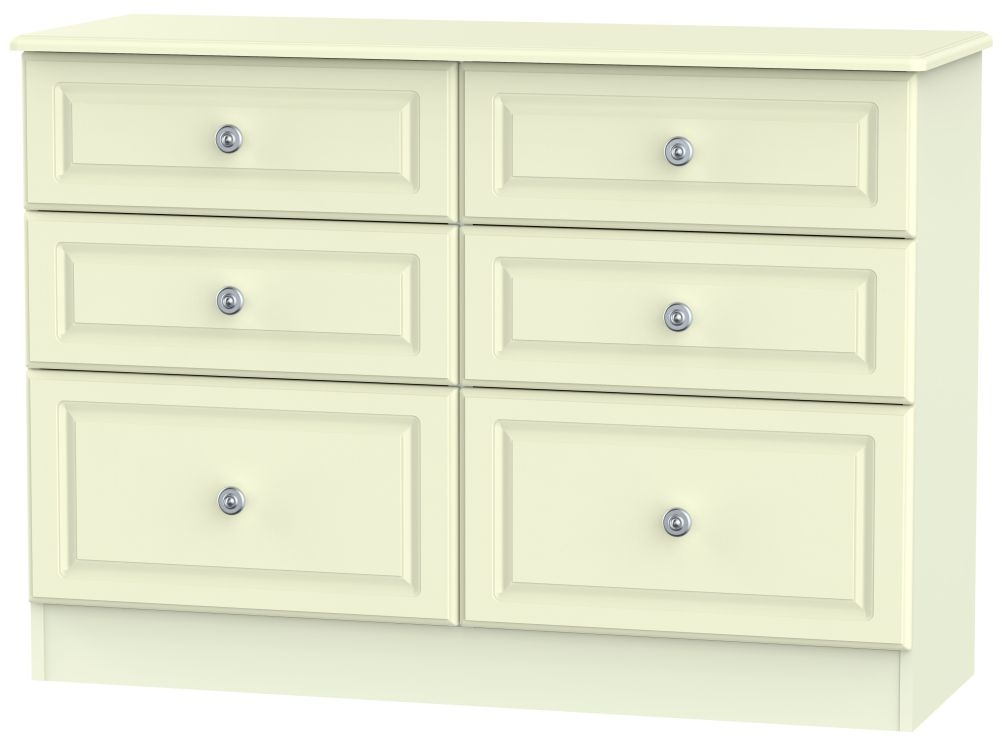 Pembroke Cream Chest of Drawer - 6 Drawer Midi