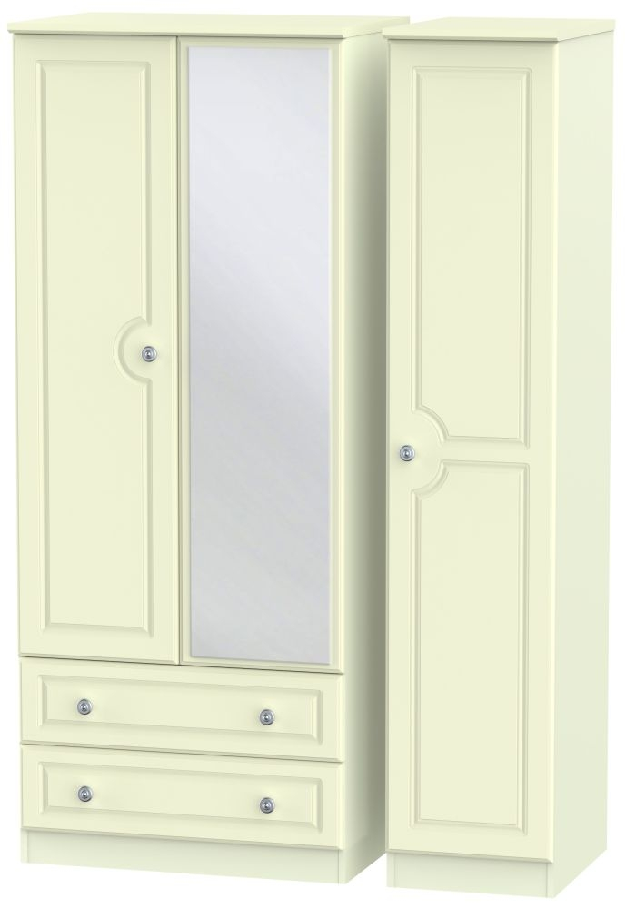 Pembroke Cream 3 Door 2 Left Drawer Mirror Triple Wardrobe