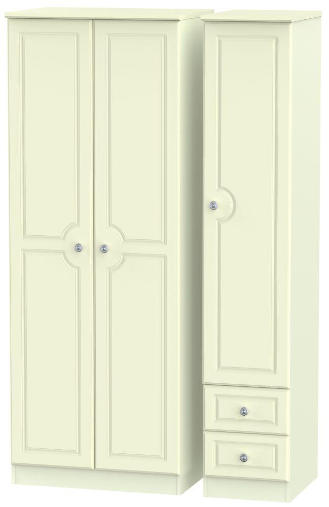 Pembroke Cream 3 Door 2 Drawer Tall Plain Triple Wardrobe
