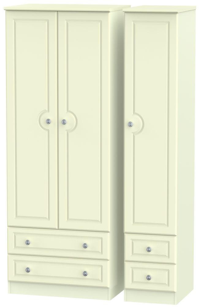 Pembroke Cream 3 Door 4 Drawer Tall Triple Wardrobe