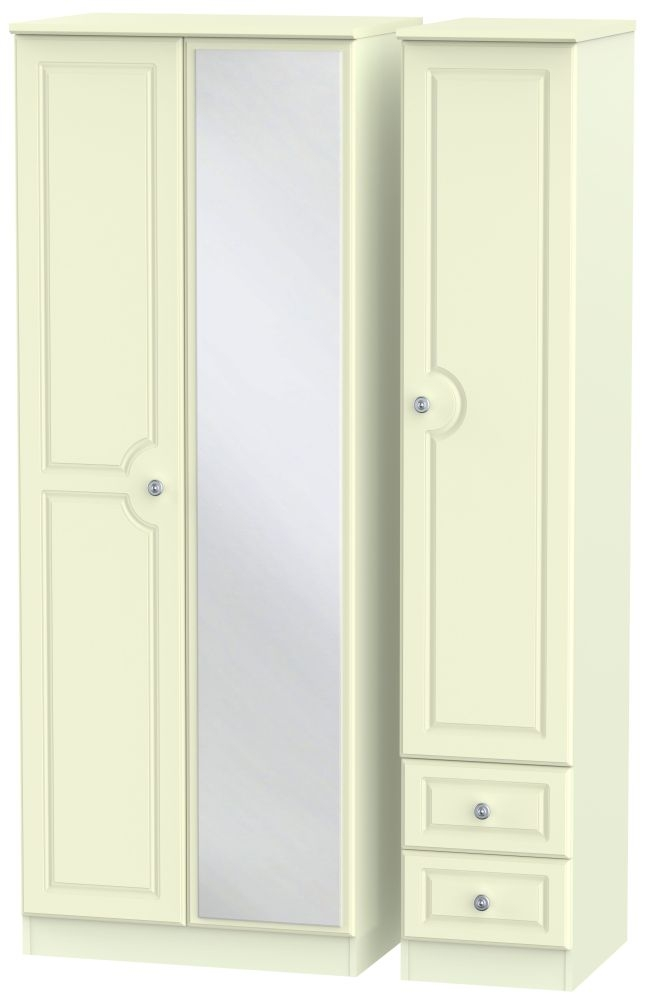 Pembroke Cream 3 Door 2 Right Drawer Tall Mirror Triple Wardrobe