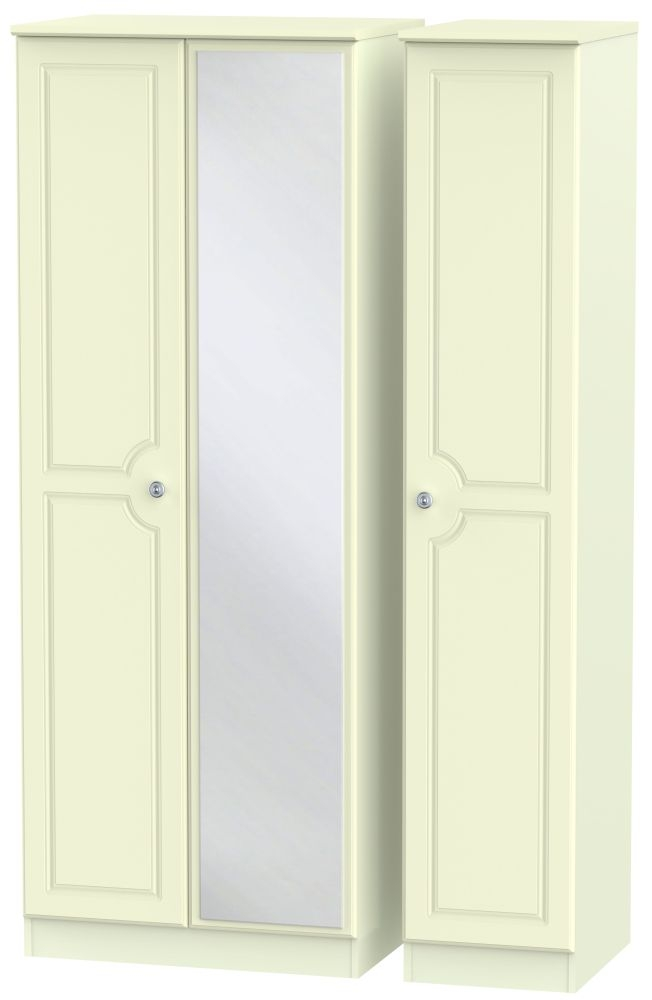 Pembroke Cream Triple Wardrobe - Tall with Mirror