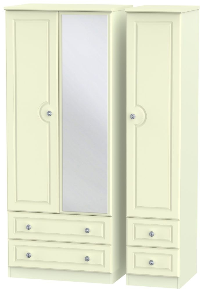 Pembroke Cream 3 Door 4 Drawer Mirror Triple Wardrobe