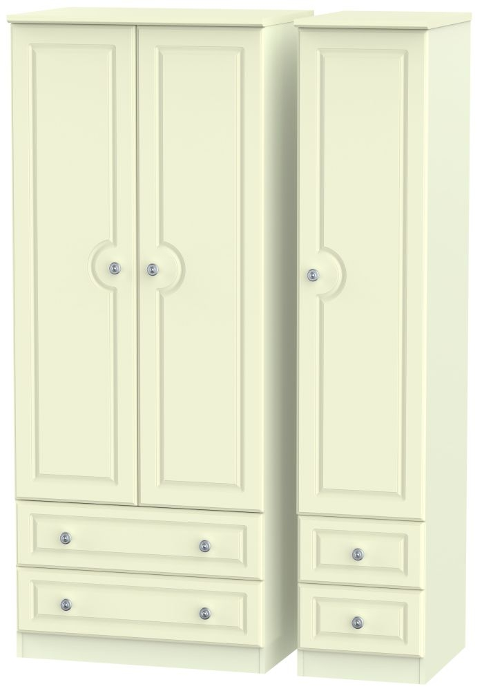 Pembroke Cream Triple Wardrobe - with Drawer
