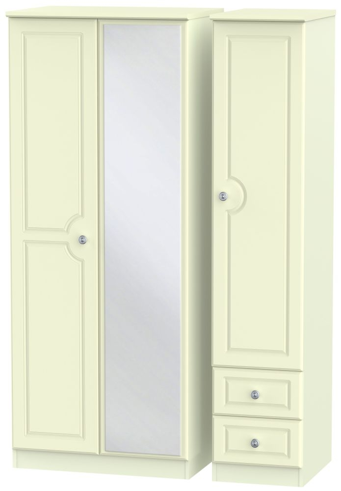 Pembroke Cream 3 Door 2 Right Drawer Mirror Triple Wardrobe