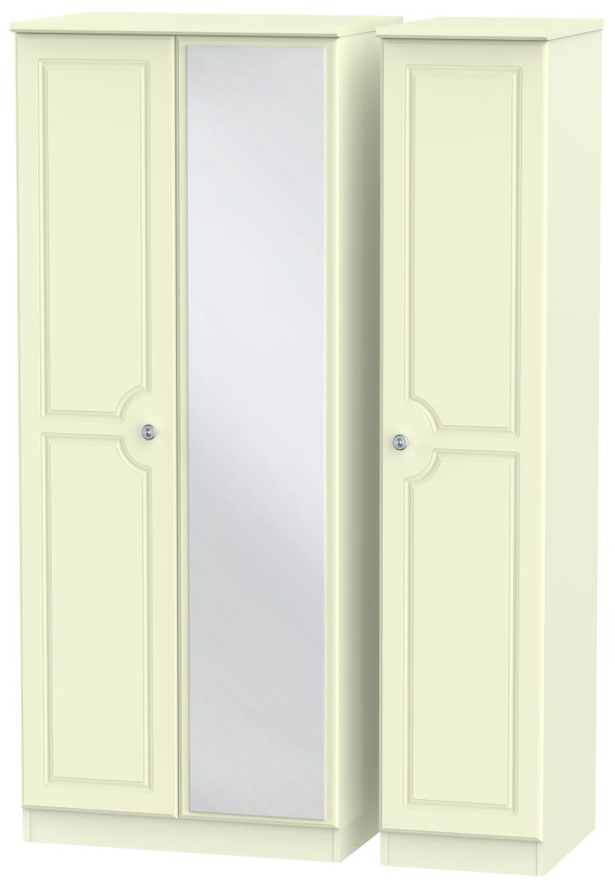 Pembroke Cream Triple Wardrobe - with Mirror
