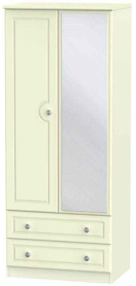 Pembroke Cream 2 Door 2 Drawer Mirror Wardrobe