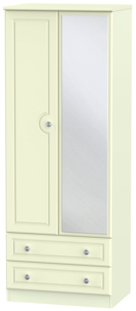 Pembroke Cream 2 Door Tall Mirror Combi Wardrobe