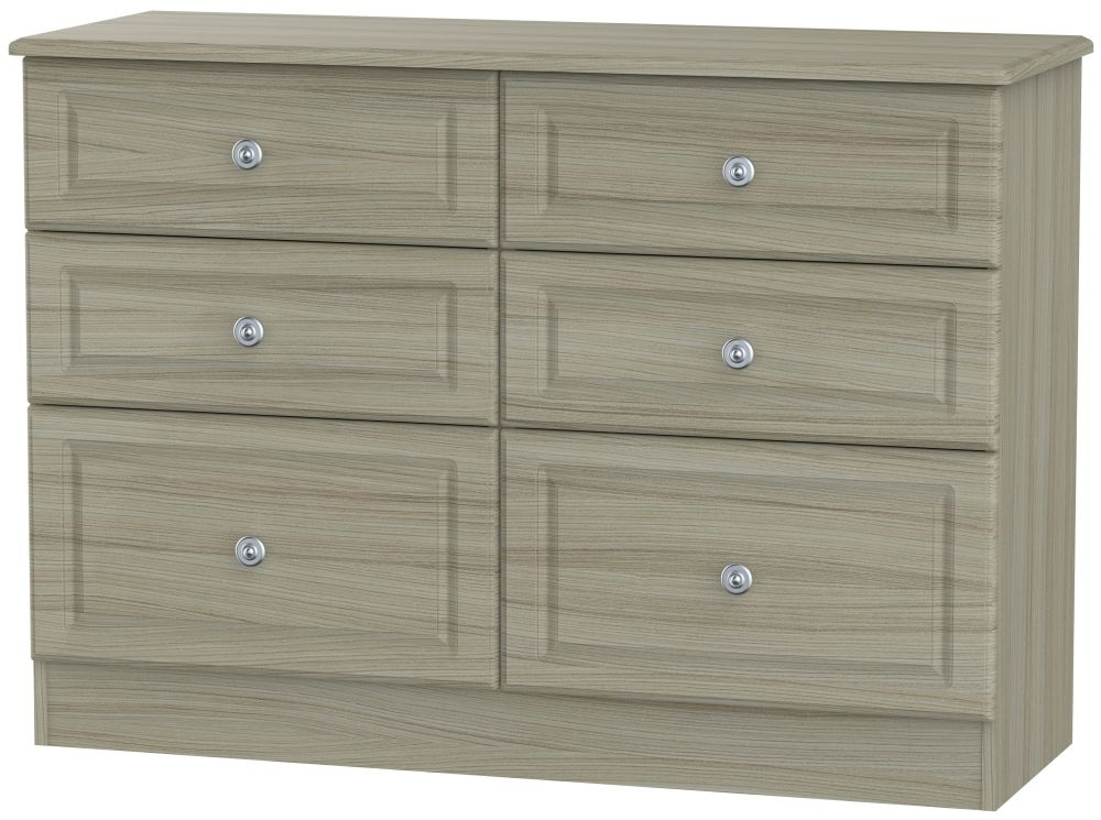Pembroke Driftwood Chest of Drawer - 6 Drawer Midi