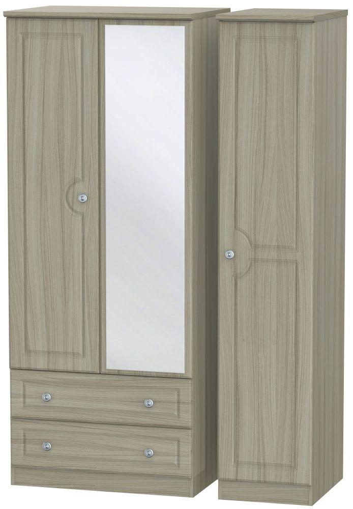 Pembroke Driftwood 3 Door 2 Left Drawer Mirror Triple Wardrobe
