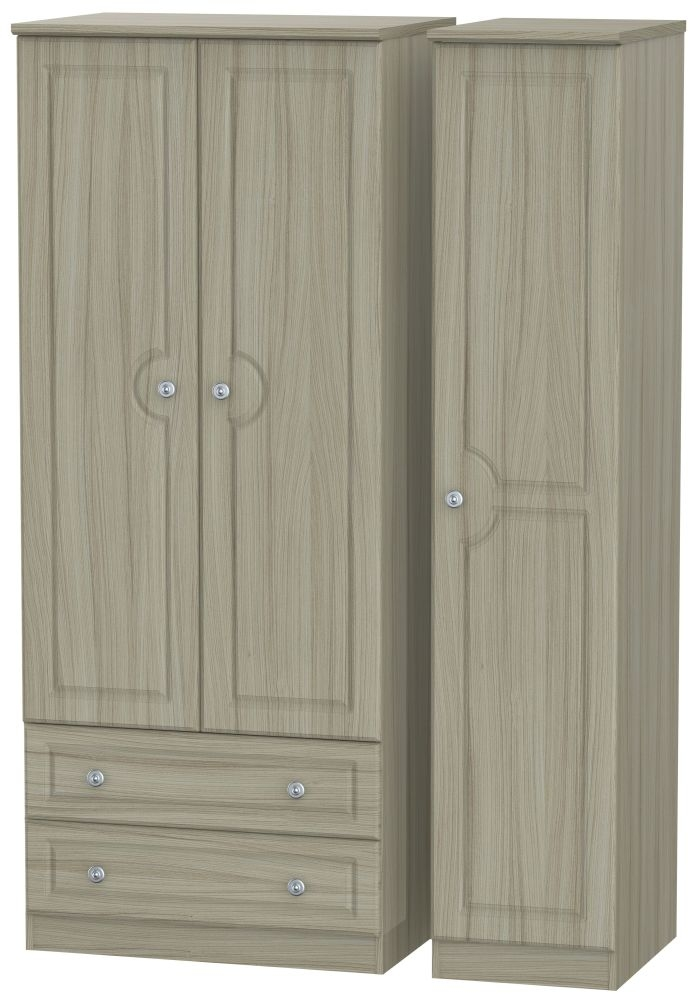 Pembroke Driftwood Triple Wardrobe - 2 Drawer