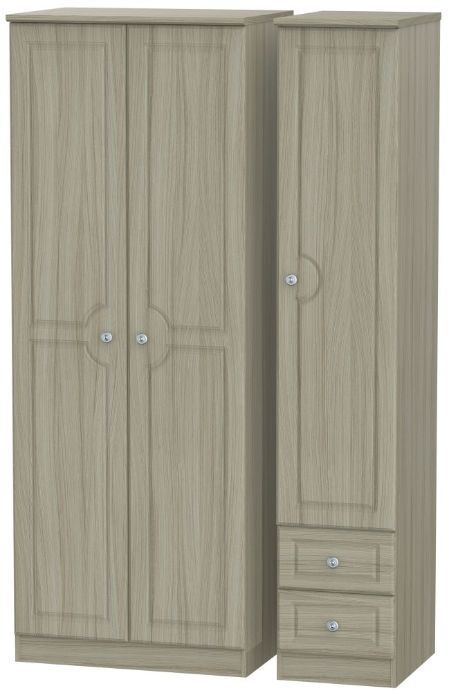 Pembroke Driftwood 3 Door 2 Drawer Tall Plain Triple Wardrobe