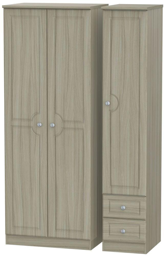 Pembroke Driftwood 3 Door 2 Right Drawer Tall Plain Wardrobe