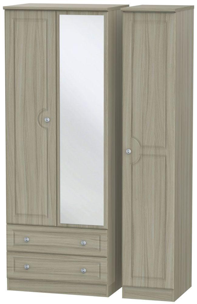 Pembroke Driftwood 3 Door 2 Left Drawer Tall Mirror Wardrobe