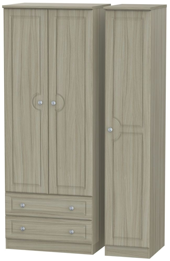 Pembroke Driftwood 3 Door 2 Drawer Tall Triple Wardrobe
