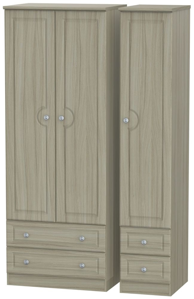 Pembroke Driftwood 3 Door 4 Drawer Tall Wardrobe
