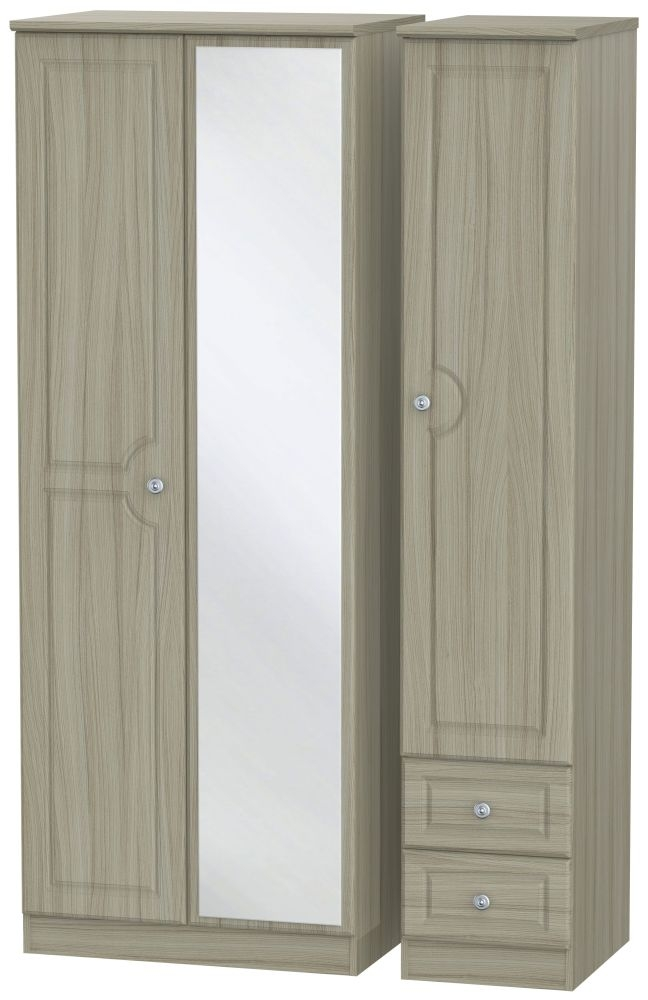Pembroke Driftwood 3 Door 2 Right Drawer Tall Mirror Triple Wardrobe